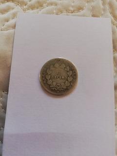 Moneda Antigua 1857 Chile Plata Coin ( 1 Decimo) Km 124