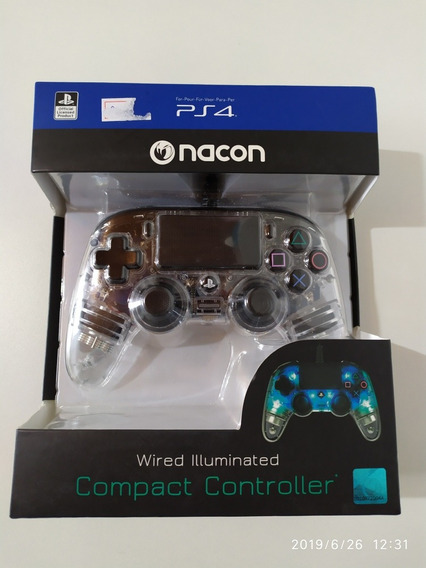 Controle Ps4 Nacon Transparente Wired Azul Led Playstation 4
