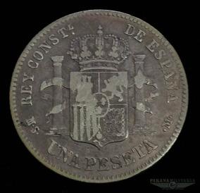 Moeda Prata 835 5gr 23mm Espanha Rei Alfonso Xii 1882