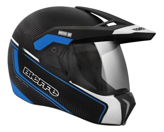 Capacete Moto Bieffe 3 Sport Stato Preto Fosco Azul