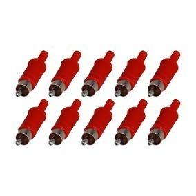 Kit Com 10 Plug Rca Macho Plástico Vermelho