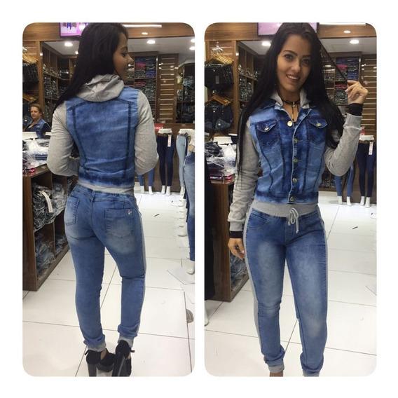 Calça Jeans Feminina Moletom Jeans Com Moletom Barata