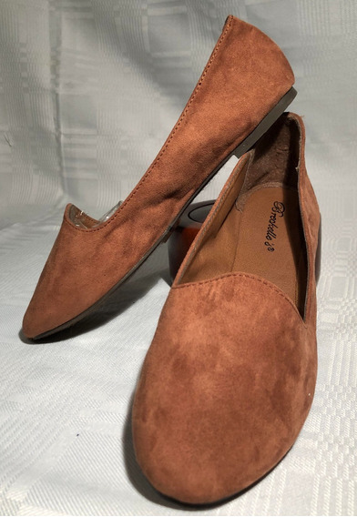 Zapatos Chatitas Eco Cuero Y Gamuza Marron
