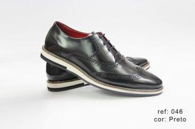 Sapato Casual Masculino Oxford Brogue Sapatenis Couro