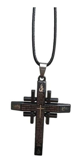 Colar Pingente Cruz Crucifixo Cordão Com O Pai Nosso
