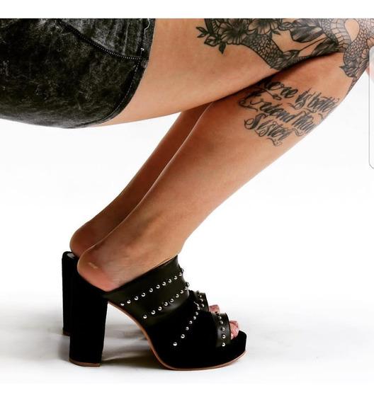 Zuecos Zapatos Stilettos Plataforma Taco Palo Con Tachas