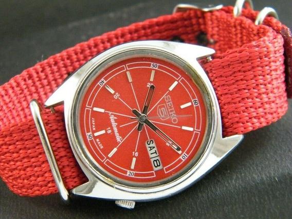 Relógio Seiko 5 Automático Pulseira Vermelha Nylon