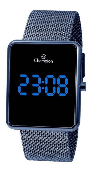 Relógio Champion Unissex Digital Led Ch40080a Azul Quadrado