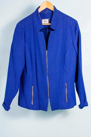 Casaco Algodão Azul Com Zíper Jucy Fashion