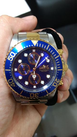 Relógio Invicta Pro Masculino Plaquê Ouro Azul, Puls. Prata
