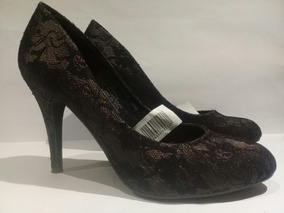 Zapatos Tacon Alto, Capellada Textil Encaje Negro Fondo Rosa