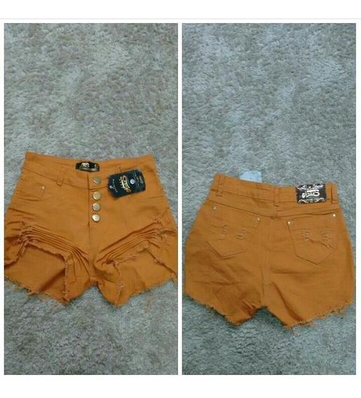 Short Jeans Caramelo Cintura Alta - Tamanho 42