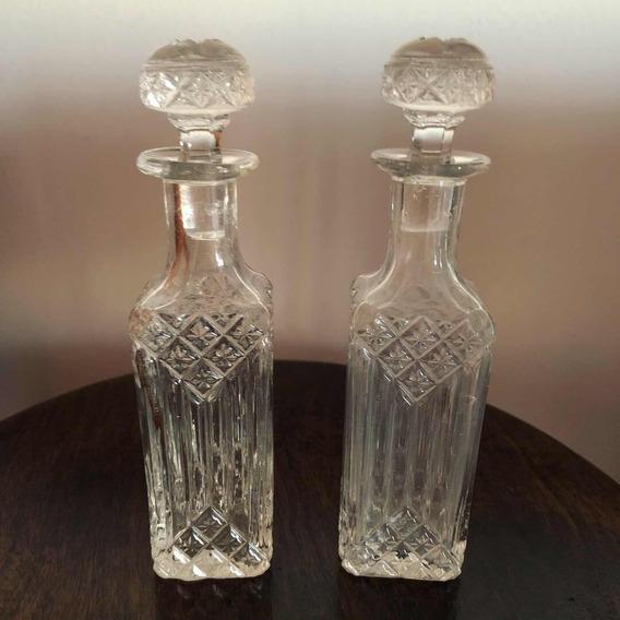 Antigo E Delicado Par De Perfumeiros Em Vidro Francês