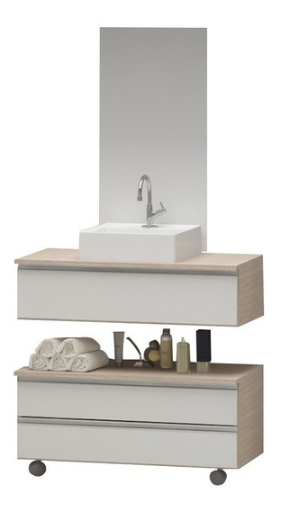 Gabinete Banheiro Creta 60 + Cuba + Espelho - Pux. Alumínio