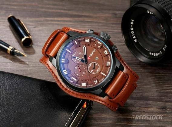 Relógio Masculino Curren Militar Couro Pronta Entrega Luxo