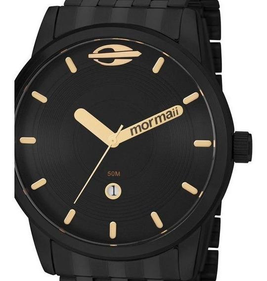 Relógio Masculino Mormaii Preto Com Dourado Metal Aço Mo2115aa/4p Original