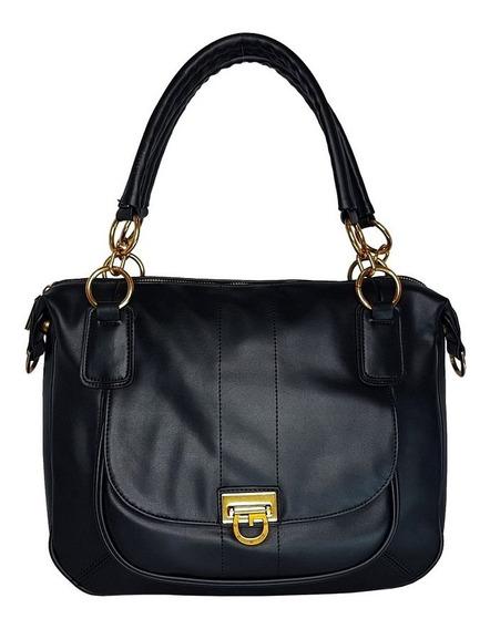 Bolsa Feminina Tote Bag Em Couro Ecológico Preto