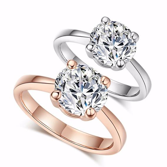 Anel Solitario Ouro Rose 18k Cristal Austríaco