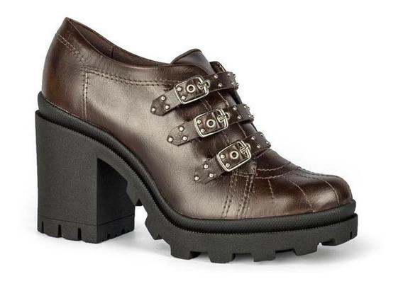 Sapato Tanara Salto Bloco Tratorado Marrom