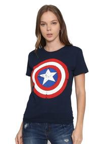 Capitan America Avengers Marvel Playera Dama 100% Original