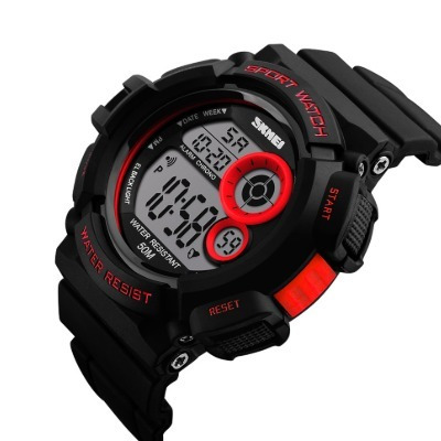 Reloj Pulsera Hombre Deportivo Luz Leed- Negro Rojo