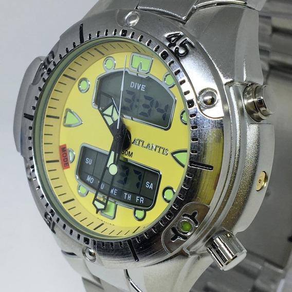 Relogio Atlantis Modelo Jp1060 Aqualand Branco/prata/dourado