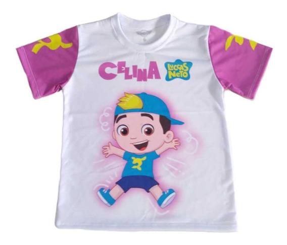 Camiseta Infantil Luccas Neto Boneco Rosa Personalizada