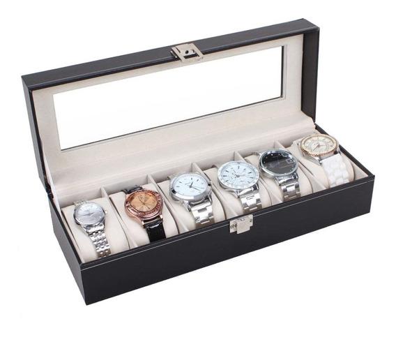 Caja Estuche Exhibidor Para 6 Relojes Joyas Piel Cristal