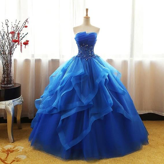 Vestido Quinceañera Barato Bonito Hermoso Bordado Azul Rey