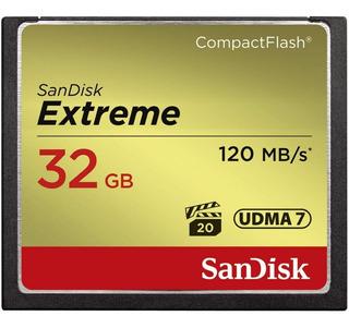 Memoria 32gb Sandisk Extreme Compactflash Camara Dslr Graba Full Hd