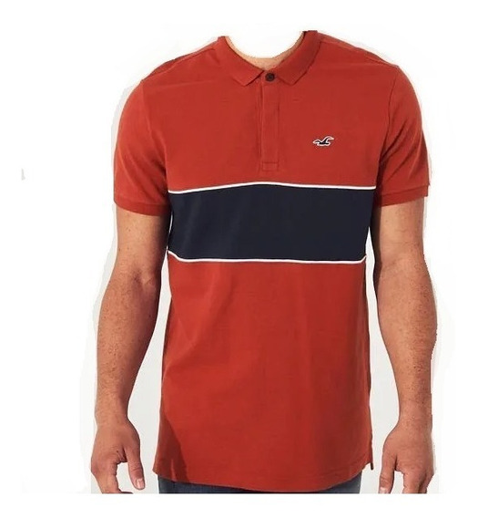 Hollister Caballero Polo Stretch Franjas Terracota/marino