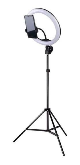 Kit Iluminador Led Ringlight Tripé Suporte Celular Selfie Nf