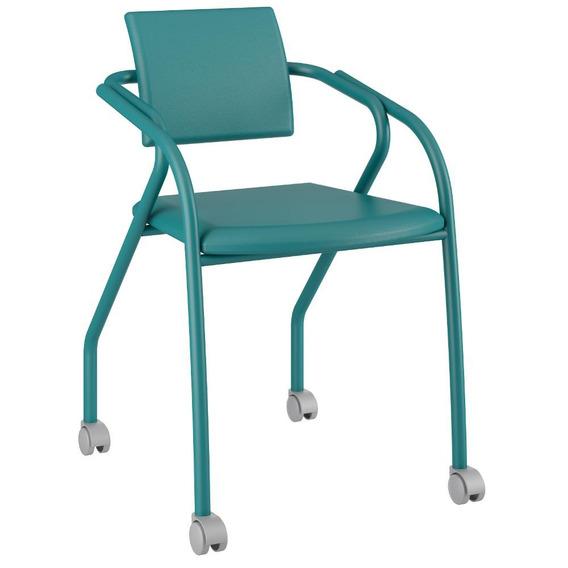 Cadeira Para Escritório 1713 Carraro Rodízios - Turquesa