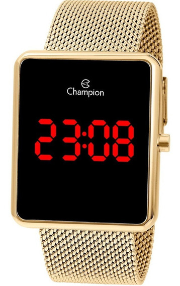 Relogio Digital Led Quadrado Dourado Champion Ch40080v +nfe