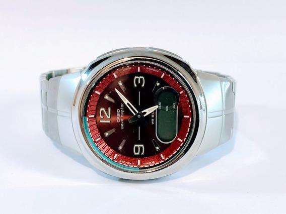 Reloj Casio Red Wave Ceptor Wva106hda-4bv Cartera Y Estuche