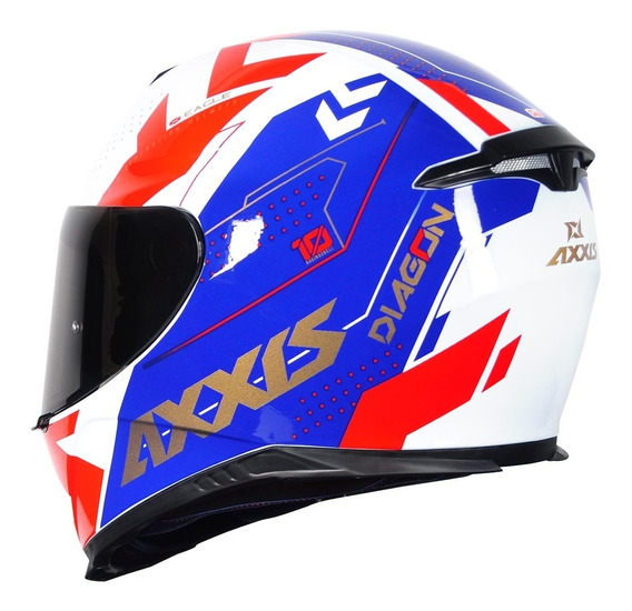Capacete Axxis Eagle Diagon Gloss White/blue/red