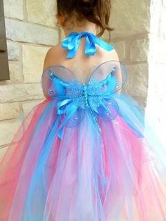Fantasia Vestido Tutu Roupa Fada Rosa E Azul Asa Borboleta