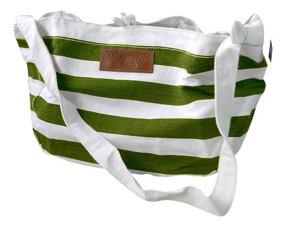 Bolsa Abercrombie 100% Original Verde E Branca Listrada