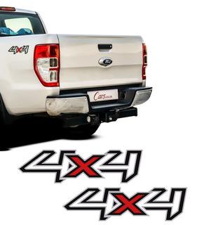 Kit Par De Adesivos 4x4 Ford Ranger 13/16 Preto Mod Original