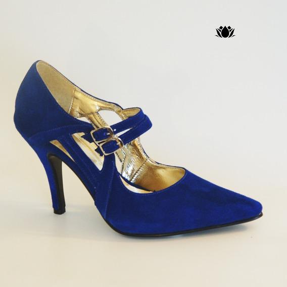Stiletto De Gamuza Azul Art. 7702 Marca Nicolas Nieves
