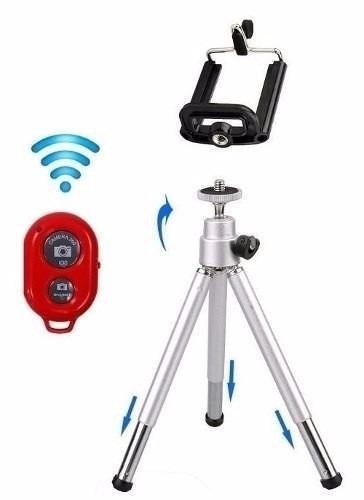 Mini Tripé De Alumínio + Controle Bluetooth Gravação Selfie