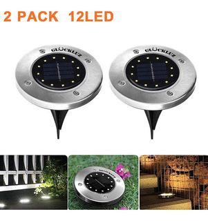 Lámpara Luz Solar Exterior Jardin Tierra 12led Glückluz 2pc