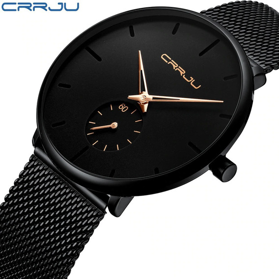Relógio Social Crrju 2150 Ultra Fino Aço Inox Pronta Entrega