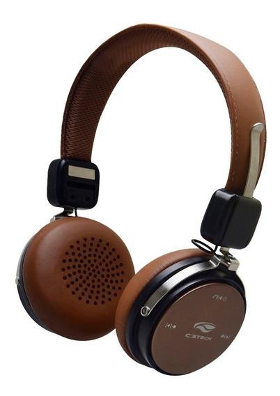 Fone De Ouvido Bluetooth C/microfone Ph-b600bw Marrom C3tech