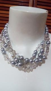Collar De Perlas Gris Y Cristal