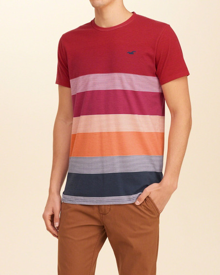 Camiseta Importada Hollister Masculina Listrada Bolso Vebraz