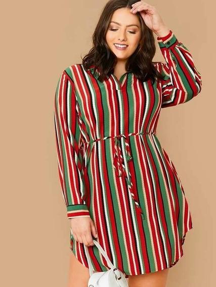Vestido Rayado Multicolor Extra Grande