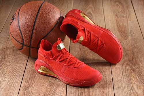 Tenis Under Armour Curry 6 Red Gold