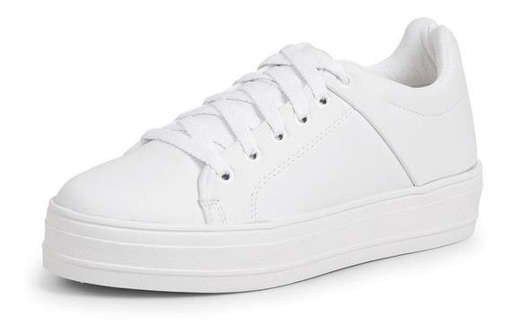 Tenis Branco Feminino Sapatenis Sola Alta Média Plataforma