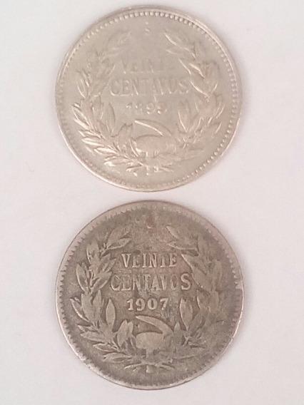 Chile 20 Centavos Plata 1899 Y 1907
